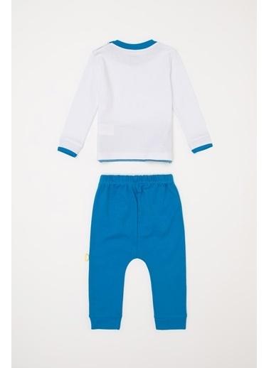 DeFacto Erkek Bebek Baskılı Pijama Takımı Mavi